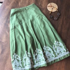Ann Taylor Sage Green Embroidery Skirt
